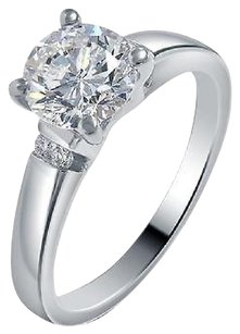 Other Ladies 14k White Gold Genuine Diamond Round Solitaire Engagement Ring 0.56ct