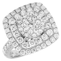Ladies 14k White Gold Real Diamond Square 3d Cluster Engagement Ring 2.5ct 17mm
