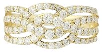 Other Diamond Ring - 14k Yellow Gold Woven Crossover Round Brilliant Cut 1.00ctw
