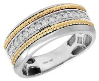 Other Mens 10k White Gold One Row Genuine Diamond Yellow Gold Rope Band Ring .33ct 9mm