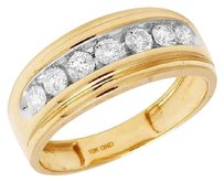 Other Mens 10k Yellow Gold One Row Genuine Diamond Wedding Band Ring 1.0ct 8mm