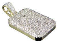 Other Mens 10k Yellow Gold Dome Pillow Genuine Diamond Pendant Charm 0.65ct 1 Inch