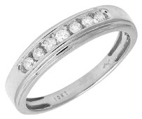 Other Mens 10k White Gold 1 Row Channel Genuine Diamond Wedding Ring Band 0.25ct 5mm
