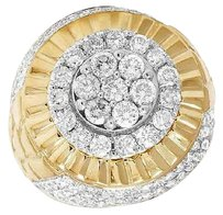 Other Genuine Diamond Puff Nugget Iced Cluster 3d Mens 10k Yellow Gold Ring 3.2ct 23mm