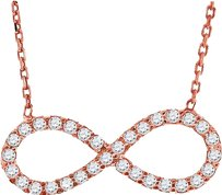 Ladies .925 Silver Lab Diamond Infinity Sideways Necklace In Rose Gold Finish