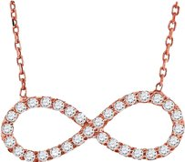 Other Ladies .925 Silver Lab Diamond Infinity Sideways Necklace In Rose Gold Finish