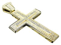 Other .925 Inch Premium Simulated Diamond In 1 Cross Pendant In Yellow Gold Finish