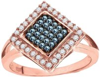 Ladies Sterling Silver Blue Sapphire Kite Lab Diamond Ring In Rose Gold Finish