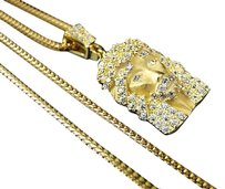 Icy Yellow Gold Finish Sterling Silver Micro Simulated Diamond Jesus Pendant