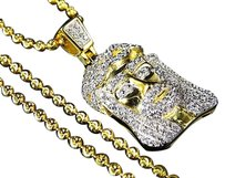 Sterling Silver Lab Diamond 2tone Jesus Piece Chain In Yellow Gold Finish 1.0
