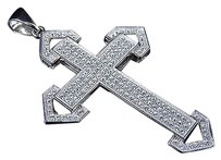 Sterling Silver Lab Diamond Arrow Style Cross Pendant In White Gold Finish 2.0