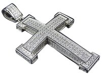 Sterling Silver Lab Diamond Blocked Cross Pendant Charm In White Gold Finish 2