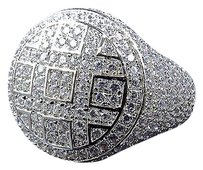 Sterling Silver Simulated Diamond Bubble Style Ring In White Gold Finish 19mm