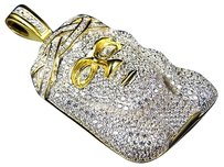 Sterling Silver Lab Diamond Bubble Style Jesus Piece In Yellow Gold Finish 2.0