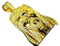 Sterling Silver Lab Diamond Pave Hair Jesus Piece In Canary Gold Finish 2.0