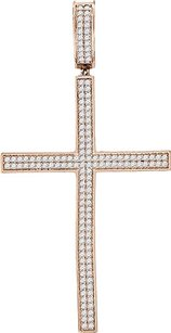 Mens Ladies Sterling Silver Icy White Gold Finish Blue Lab Diamond Cross Pendant