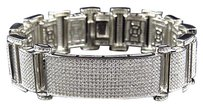 Mens Sterling Silver Lab Diamond Wall Style Bracelet In White Gold Finish 30mm