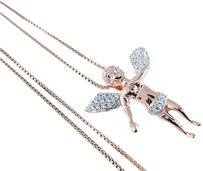 Other Sterling Silver Flying Cherub Angel Lab Diamond Pendant Chain Rose Gold Finish