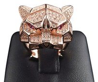 New Sterling Silver Simulated Diamond Tiger Pave Ring In Icy Rose Gold Finish