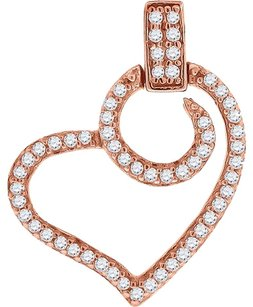 Other Ladies .925 Silver Lab Diamond Chocolate Swirl Heart Pendant In Rose Gold Finish