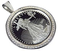 100 Sterling Silver Lab Diamond Usa Lady Liberty Coin In White Gold Finish 2.0