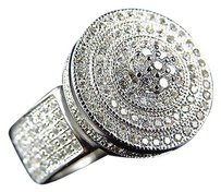 Simulated Diamond Flower Disc Style Engagement Ring In White Gold Finish 15mm