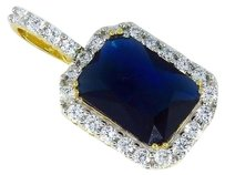 Mens Yellow Gold Sterling Silver Lab Diamond Navy Blue Royal Charm Pendant 1.5
