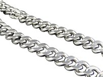 White Gold Finish Stainless Steel Miami Cuban Style Franco 30 Chain 11mm