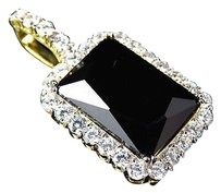 Mens .925 Sterling Silver Yellow Gold Finish Onyx Lab Diamond Charms Pendant 1.5