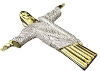 Yellow Gold Finish.925 Sterling Silver Simulated Lab Diamond Jesus Charm Pendant