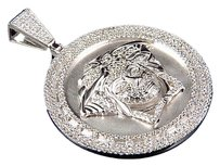 Matte White Gold Finish Medusa Head Medallion Pendant Simulated Diamond Bail 2