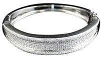 Mens 925 Sterling Silver Simulated Diamond Bangle Bracelet Inch