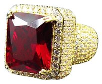 Mens Yellow Finish Royal Red Ruby Lab Diamond Solitaire Sterling Silver Ring