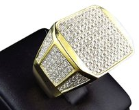 Mens Simulated Lab Diamond Stylish Geometric Ring In Yellow Gold Finish Mm