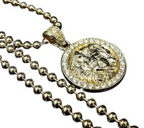 Pave Set White Crystal Medusa Head Pendant Chain Combo Finished In Yellow Gold