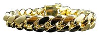 Mens Yellow Gold Finished Sterling Silver Miami Cuban Franco Bracelet 13.12mm