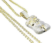 Sterling Silver Jesus Piece Real Diamond Pendant Chain In Yellow Gold Finish