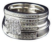 Other 3pc Lab Diamond 3d Band Style Cluster Engagement Set In White Gold Finish 6mm