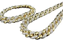Other Icy Yellow Sterling Silver Simulated Diamond Miami Cuban Chain Bracelet Set