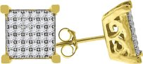 925 Sterling Silver Icy Yellow Finish Simulated Diamond Square Stud Earrings 9mm
