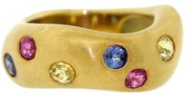 Vintage 1984 Angela Cummings 18k Gold Yellow Pink Blue Sapphire Wave Ring