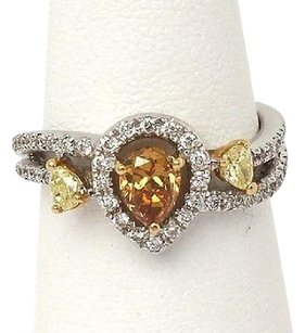 18kt Two Tone Gold 1.18cts Fancy Color White Diamond Ladies Cocktail Ring