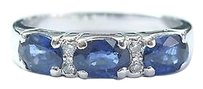 Fine,Gem,Sapphire,Diamond,White,Gold,Band,Ring,4.4mm,1.24ct,Sz,7.25