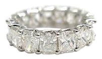 8.09ct,Radiant,Enternity,Diamond,18k,Solid,Whit,Gold,Band,Ring,Size,6.5