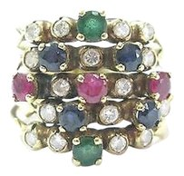 18kt,Ruby,Sapphire,Emerald,Diamond,5-row,Yellow,Gold,Jewelry,Ring,1.50ct