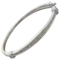 Other Vintage Estate 14k Solid White Gold 1ctw Baguette Diamond Bangle Bracelet