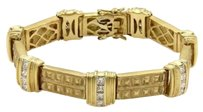 Estate 5.60ct Princess Cut Diamond 18k Yellow Gold Fancy Link Bracelet
