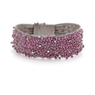 Other Estate Pink Sapphire Diamond 18k White Gold Wide Bead Mesh Band Bracelet