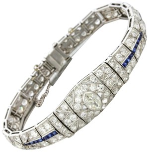 1920s Antique Art Deco Platinum 9.73ctw Diamond Sapphire Tennis Bracelet