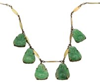 Other Estate 14k Yellow Gold Carved Jade Buddha Dangle Necklace